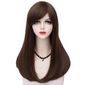TOP-MAX Lolita Chestnut Brown Long 55CM Natural Wavy Fashion Women Cosplay Wig + Wig Cap