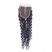 Zorssar Hair Deep Wave Brazilian Virgin Human Hair Lace Closure 4x 4 Middle Part Natural Colour Silky Soft