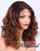 K'ryssma Curly Lace Front Wig for Women Medium Length L Part Deep Parting Ombre Brown Glueless Synthetic Wigs Half Hand Tied Replacement Full Wig