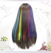 MIMAN 50cm Party Highlights Clip in Synthetic Hair Extensions 12 PCs Colourful Straight Hairpieces