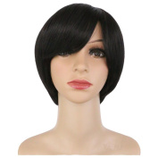 KOLIGHT 28cm Fashion Realistic Black Short Straight Women Girls Replacement Hair Wigs-Free Cap+Comb