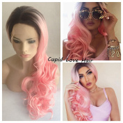 Cupidlovehair Pink Colour Lace Front Wig Black Roots Long Loose Curly Heat Resistant Synthetic Silky Hair Full Wig