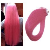 Mario Hair Tape in Hair Extensions Human Hair Pink Silky Straight Skin Weft Human Remy Real Hair