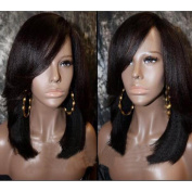Italian Yaki Lace Front Wig with Bangs Brazilian Short bob Human Hair Lace Front Wigs with Baby Hair