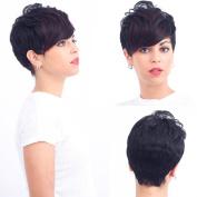 YUSHUO Beauty Brazilian Natural Wig Human Hair Women Stright Short 99J Wigs