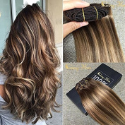 Sunny Dip and Dye Ombre Clip in Human Hair Extension 46cm Remy Full Head Brown to Blonde Remy Clip in Extensions 7pcs 120gram
