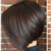 Sunny #2 Darkest Brown Wig Brazilian Remy Virgin Hair 130% Density 25cm Short Bob Straight Wig with Baby Hair