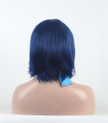 Diy-Wig Blue Cosplay Wig Short Straight Halloween Wig with Side Bang for Women