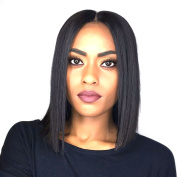 AllHairz Malaysian Virgin Hair Bob Human Hair Lace Front Wig with Middle Part