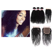 Fabeauty Hair Brazilian Virgin Curly Hair Weft 3 Bundles with 1pc Lace Closure Free Part 4x4 100% Unprocessed Human Hair Extensions Natural Colour