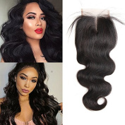 Annar Hair 4x 4 Lace Closure Brazilian Body Wave Human Hair Non-remy Middle Part 130% Density Natural Colour 25cm