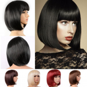 BUNITA,Lady Girl Bob Wig Women's Short Straight Bangs Full Hair Wigs Cosplay Party,wig light brown