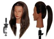 HairZtar 60cm (ETHNIC) 100% Human Hair Mannequin Head Hairdresser Training Head Manikin Cosmetology Doll Head