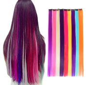 20PCs Colourful clip in hair extensions 50cm Multi-Colours Clip ons synthetic hair piece for Party Highlights
