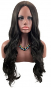 Sexy Fashionable 70cm Black Long Wave Centre Parting Wigs (Rose Net) 011BK