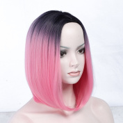 Ombre Bob Wigs Straight Short Length Wigs for Women Middle Part Wigs Dark Roots Pink Red Heat Resistant Synthetic Wigs