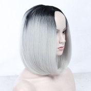 "13.7"" 35cm Ombre Hair Bob Wig Black to Grey Heat Resistant Full Bob Style Wig Synthetic Hair short bob Wig for women"