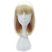 """SunshineSusie11""""Short Straight Bob Hair Wigs with Flat Bangs Synthetic Heat Resistant Wig Natural As Real Hair"""