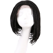 ALIBALLY 41cm Short Wigs Synthetic Wig Three Strand Twist Braids Lace Front Wig Long Crochet Braided Box Braids Synthetic Lace Front Twist Wig Bob Hairstyle For Women