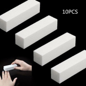 ForUBeauty Professional Nail Files White Sponge Nail Buffering File 10PCS
