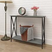 Weathered Grey Oak Finish 3-Tier Metal X-Design Occasional Console Sofa Table Bookshelf