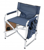 Faulkner Aluminium Director Chair with Folding Tray and Cup Holder, Blue