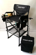 65TTPro NEW & IMPROVED!! MAKEUP ARTIST Professional Tall Chair -HEAVY DUTY w/ Storage Side-Bags-2 Brush Holders-Bottom Mesh Product- . -- 70cm SEAT HEIGHT
