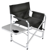 Faulkner Aluminium Director Chair with Folding Tray and Cup Holder, Black