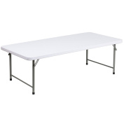 80cm W x 150cm L x 48cm H Kid's Granite White Plastic Folding Table