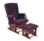 Artiva USA Home Deluxe Microfiber Cherry Wood Glider and Ottoman Set, Royal Purple