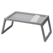 IKEA TV Tray - Lap Tray For The Family Bundle with Restaurant Quality Dinner Napkin - For TV, Movies, Breakfast in Bed, Lunch, Brunch, Dinner - grey [Foldable Legs][1 Napkin Included Per Tray]
