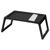 IKEA TV Tray - Lap Tray For The Family Bundle with Restaurant Quality Dinner Napkin - For TV, Movies, Breakfast in Bed, Lunch, Brunch, Dinner - BLACK [Foldable Legs][1 Napkin Included Per Tray]