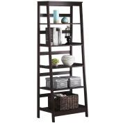Topeakmart 5 Tier Wood Leaning Ladder Shelf Bookcase/Bookshelf in Espresso Finish