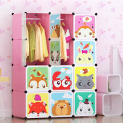 Tespo Portable Clothes Closet Wardrobe for Children and Kids, Cute Cartoon, DIY Modular Storage Organiser, Sturdy and Safe Construction, 12 Deeper Cubes with Hanging Rods, Pink