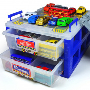HapiLive Plastic Dustproof Toy Cars Parking Storage with Ttrack Plastic Box Divider Organiser