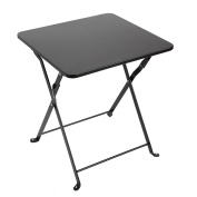 Finnhomy Small Square Folding Side End Table Sofa Table Tray Side Table Snack Table Metal Anti-Rusty Outdoor and Indoor Use for Little Stuff Multi-use, Black
