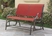 Outdoor Patio Yard Glider Loveseat 2-Seat Bench Red Synthetic Fabric Mesh Seating Beige