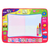 Aqua Doodle Mat, Large Magic Water Drawing Painting Writing Mat Pad Board, 2 Pen Develop Intelligence Sketch Learning Toy Gift for Boys Girls Toddlers Kids Children 80cm X 60cm 4 Colour
