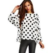 Women Shirt ,IEason 2017 Hot Sale! Women O Neck Polka Dot Casual Loose Chiffon Long Sleeve Shirt Blouse Tops