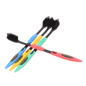 4PCS Double Ultra Soft Toothbrush Bamboo Charcoal Nano Brush Teeth Cleaning Black or Yellow Head