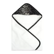 My Blankee Newborn Hooded Luxe Towel, Cheetah Black