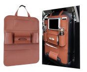 Car Backrests Protect, YAKER Water-Repellent Leather Car Seat Back Organiser with Protective iPad, Phone, Cup, Umbrella, Tissue / Seat Cover with 6 Pockets, Backrest Pocket for Children