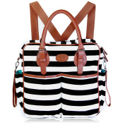 Chic Mommy Baby Nappy Bag & backpack- Cotton Messenger & tote Organiser w/ stroller straps