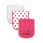 Luvable Friends 3 Piece Burp Cloth with Fibre Filling for Girls, I love Mommy
