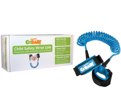 Child Safety Wrist Link, Toddler Leash and Walking Harness for Baby and Kids - 6-1/2 feet (2.0 metres) by HAPPY GO BABY (Trailblazer Blue)