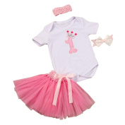 Girls Clothes Odeer 2017 3PCS Baby Girl Headband 1st Birthday Outfit Party Romper Skirt Dress Set Clothes