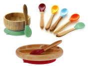 Avanchy Mix & Match Organic - Bamboo Baby Gift Set. Bamboo Baby Bowl + Bamboo Baby Divided Plate + 5 Assorted Spoons set. Great for Baby Boy, Baby Girl, Unisex