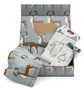 Milkbarn Organic Newborn Gown, Hat and Swaddle Blanket Keepsake Set, Grey Buck