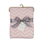 Living Textiles Modern Pattern Polyester Chenille Blanket, Pink Chevron