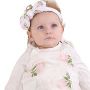 Muslin Swaddle Blanket,Receiving Blankets,Soft Newborn Baby Blanket & Headband Set